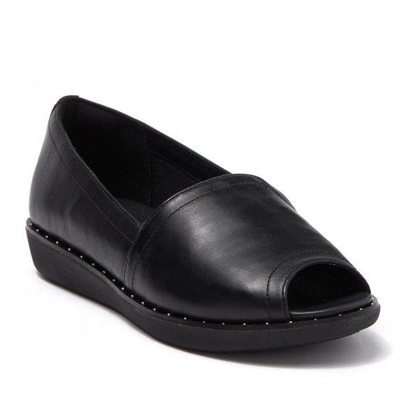Nadia Peeptoe Leather Loafers Nwt 75